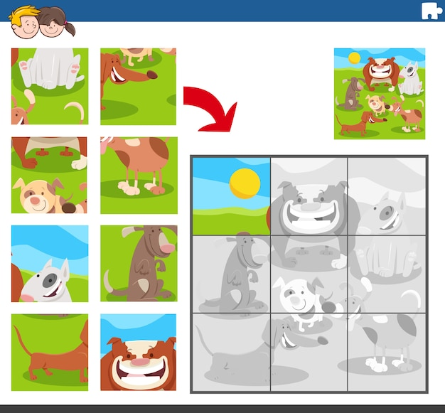 Jigsaw puzzle game with dogs animal characters