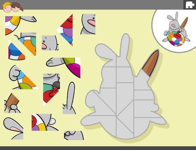 부활절 토끼 캐릭터와 직소 퍼즐 게임