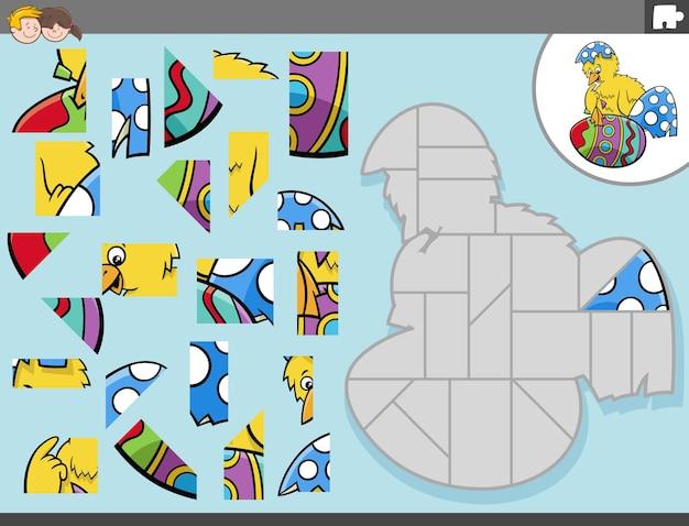 부활절 병아리 캐릭터와 직소 퍼즐 게임