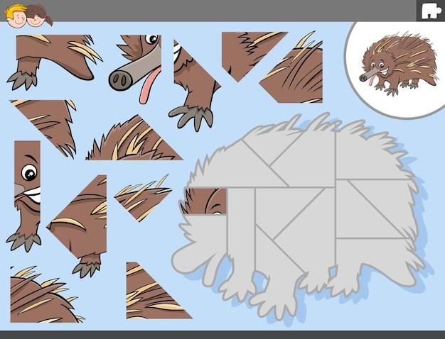 ハリモグラの動物キャラクターとジグソーパズルゲーム
