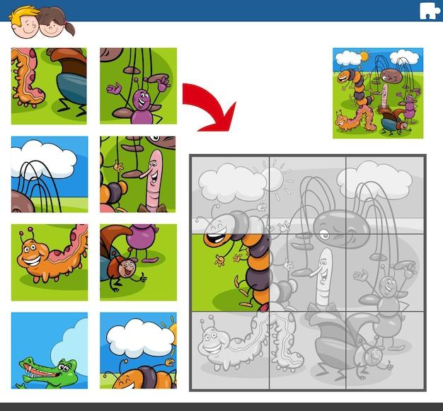 재미있는 곤충 동물 캐릭터와 직소 퍼즐 게임 프리미엄 벡터