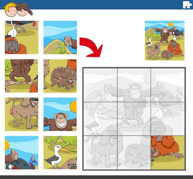 面白い野生動物のキャラクターとジグソーパズルゲーム