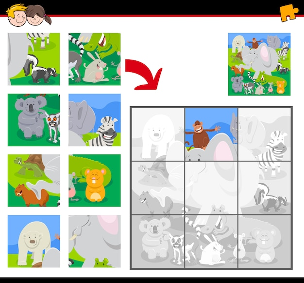 Jigsaw puzzle game with funny wild animals group
