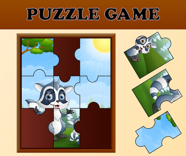 Jigsaw puzzle game with happy raccoon