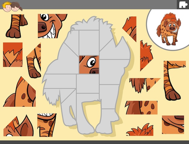 ハイエナの動物キャラクターとジグソーパズルゲーム