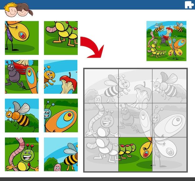 곤충 동물 캐릭터와 직소 퍼즐 게임