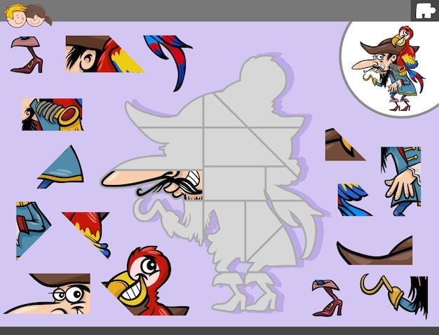 海賊とオウムのファンタジーとジグソーパズルゲーム