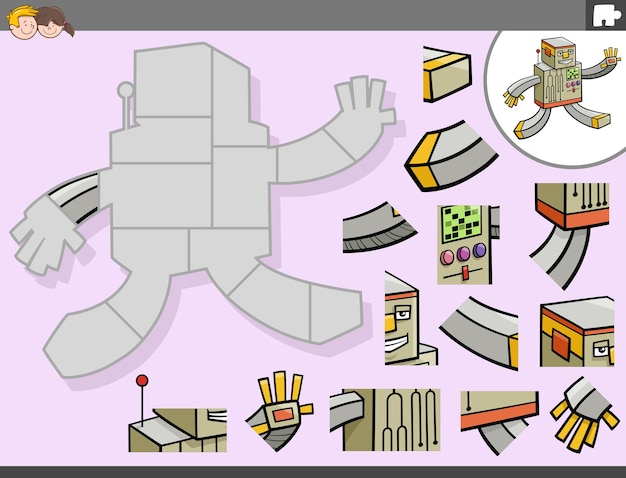 Jigsaw puzzle game with robot fantasy character