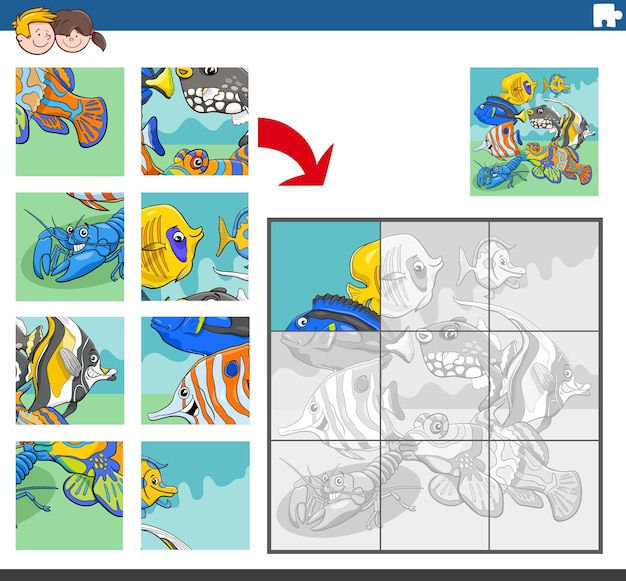 Jigsaw puzzle game with tropical fish animal characters