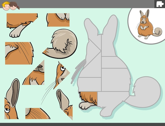 Jigsaw puzzle game with viscacha animal character