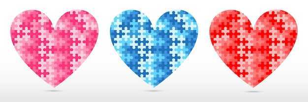 Jigsaw puzzle heart shape 3 colors on white gradient background
