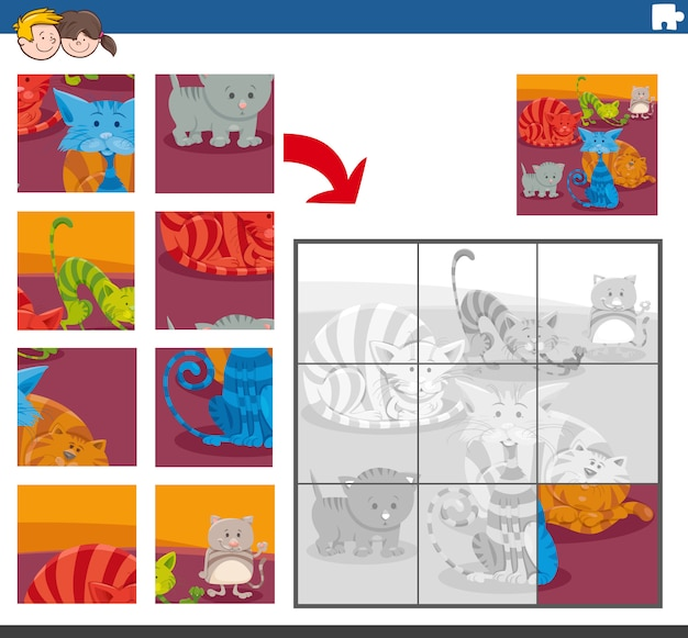 Jigsaw puzzle task with cats animal characters