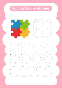 ジグソーパズル子供のための練習ワークシートを書いたり描いたりするトレースライン