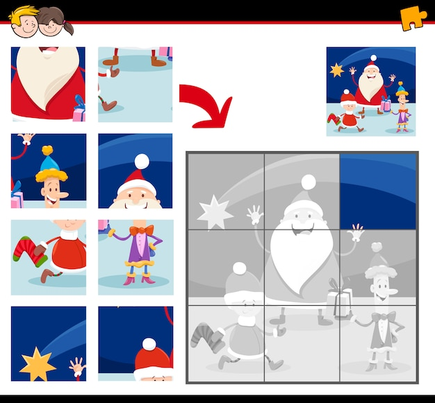Jigsaw puzzles with cartoon christmas characters