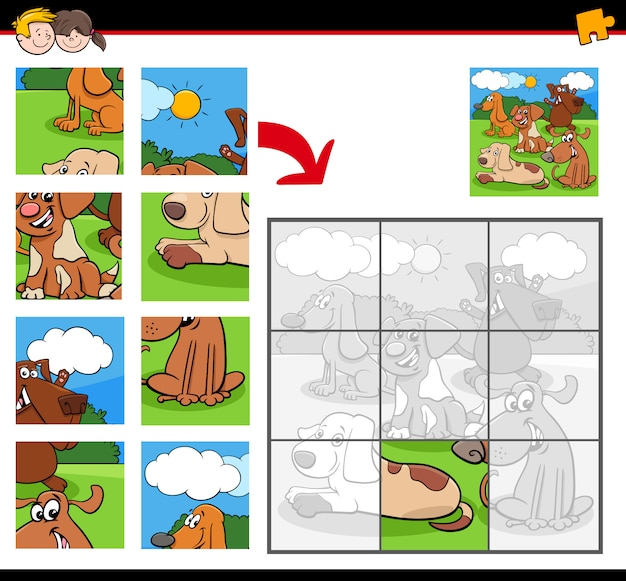 Jigsaw puzzles with cartoon dog characters