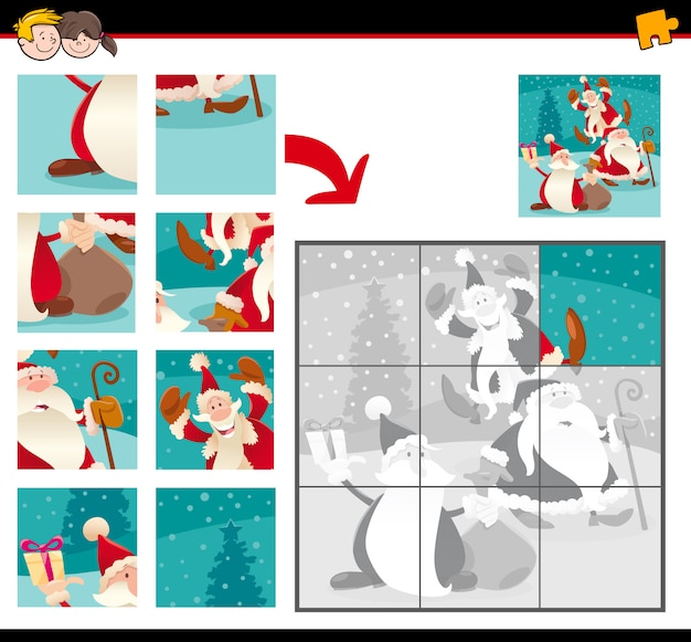 Jigsaw puzzles with cartoon santa claus characters