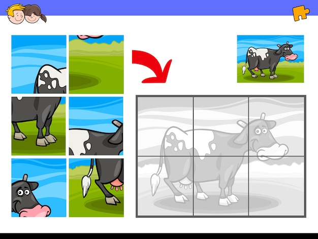 Jigsaw puzzles with cow farm animal character