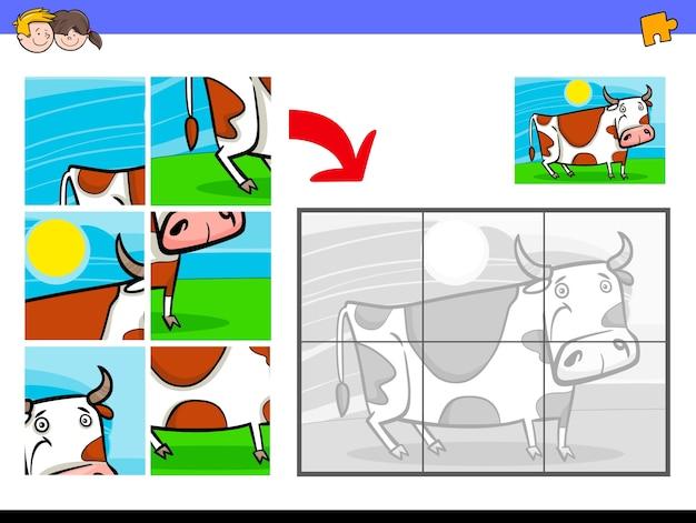 Jigsaw puzzles with cow farm animal