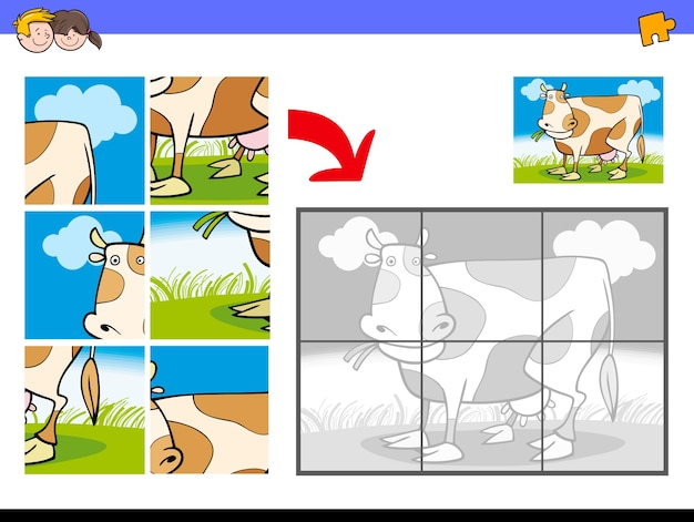 Jigsaw puzzles with cow farm character