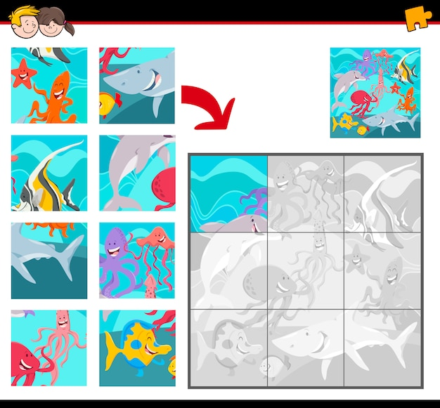 Jigsaw puzzles with sea animal characters