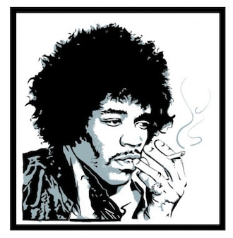 Jimmy hendrix smoking portrait