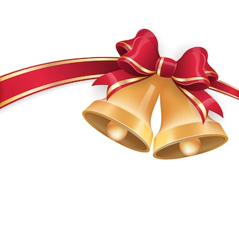 お祭りの背景に赤いリボンの弓でジングルベル。