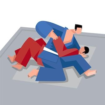 戦う柔術選手