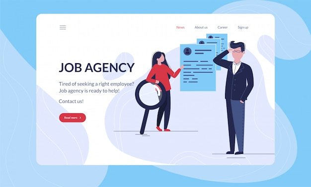 Job agency modern first illustration template