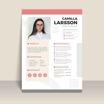 Job applicant document template with photo
