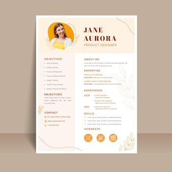 Job application template with photo