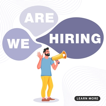 Job banner. man shouting on megaphone with we are hiring word.