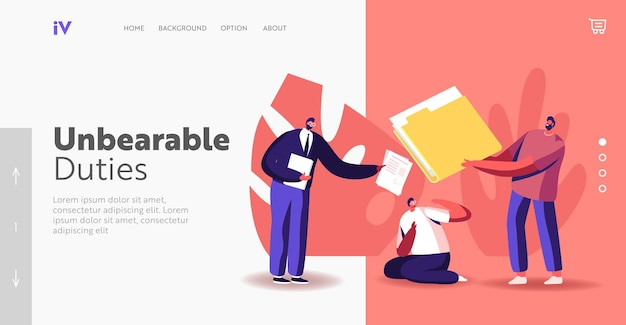 Job burdens landing page template. confused businessman character sitting on ground pressed with colleagues opinion. businesspeople giving to stressed worker papers. cartoon people vector illustration