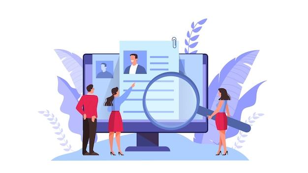 Концепция кандидата на работу. идея трудоустройства и собеседования. поиск менеджера по подбору персонала. иллюстрация в мультяшном стиле