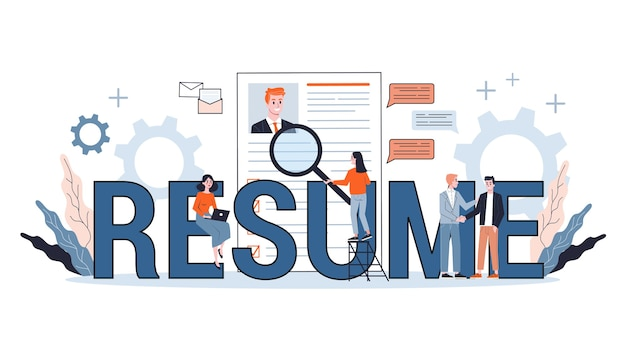 Job candidate. idea of employment and job interview. recruitment manager searching. web banner .   illustration in cartoon style