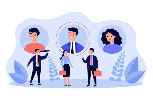 求職者または従業員とそのプロフィールまたは個人データ。ビジネスマンとそのユーザーアバター
