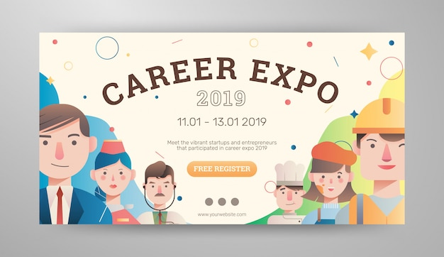 Job and career expo with avatar banner layout
