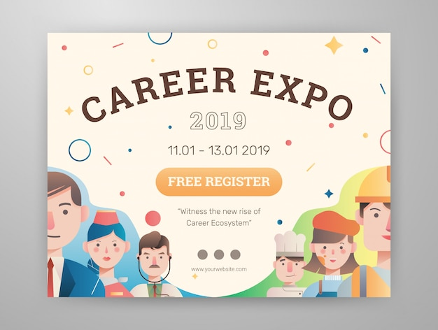 Job and career expo with avatar graphic content layout