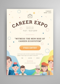 Job and career expo with avatar poster layout