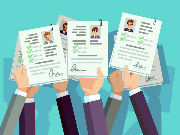 Job competition. candidates hold cv resume. recruitment and human resource vector illustration