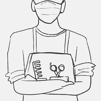 仕事手描きベクトル美容師のキャラクター、サロンのコンセプト