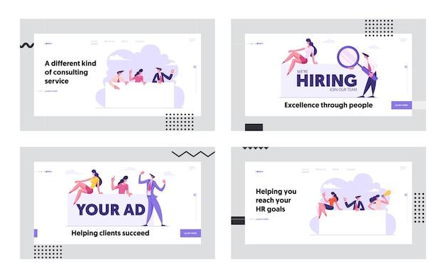 Job hiring concept website concept landing page set