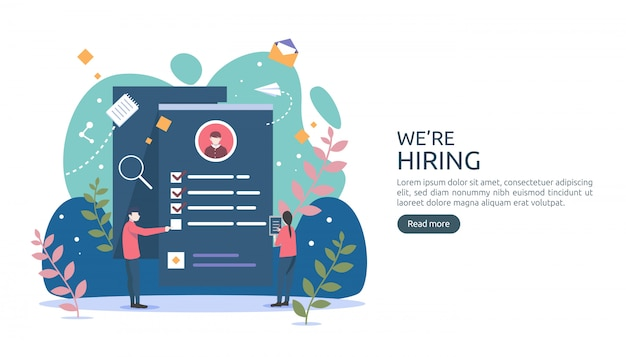 Job hiring and online recruitment concept with tiny people character. select a resume process.