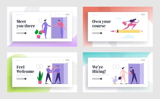 Наем работы, успешная сделка с недвижимостью, набор целевой страницы для веб-сайта business race