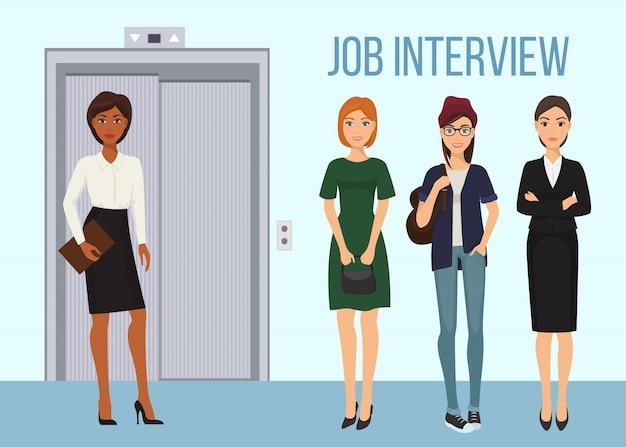 就職の面接バナーイラスト。インタビューを受ける順番を待っている女性。エレベーターの近くに立っている労働者の女性キャラクター。