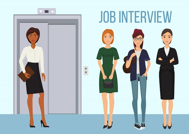 Job interview banner  illustration. women waiting for their turn to be interviewed. worker female characters standing near elevator.