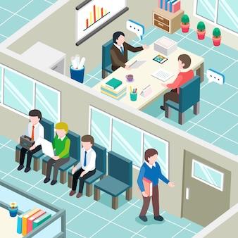 等尺性グラフィックの就職の面接の概念