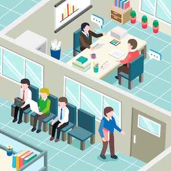 Job interview concept in   isometric graphic
