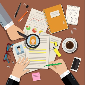 Job interview concept with business cv resume. flat  illustration