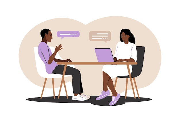 Job interview conversation. african hr manager and job candidate meeting for interview.   illustration. flat.
