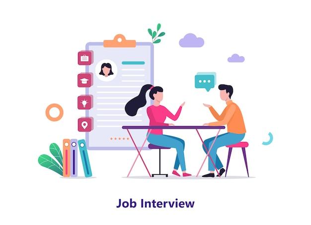 就職の面接。雇用主と候補者の間の会話